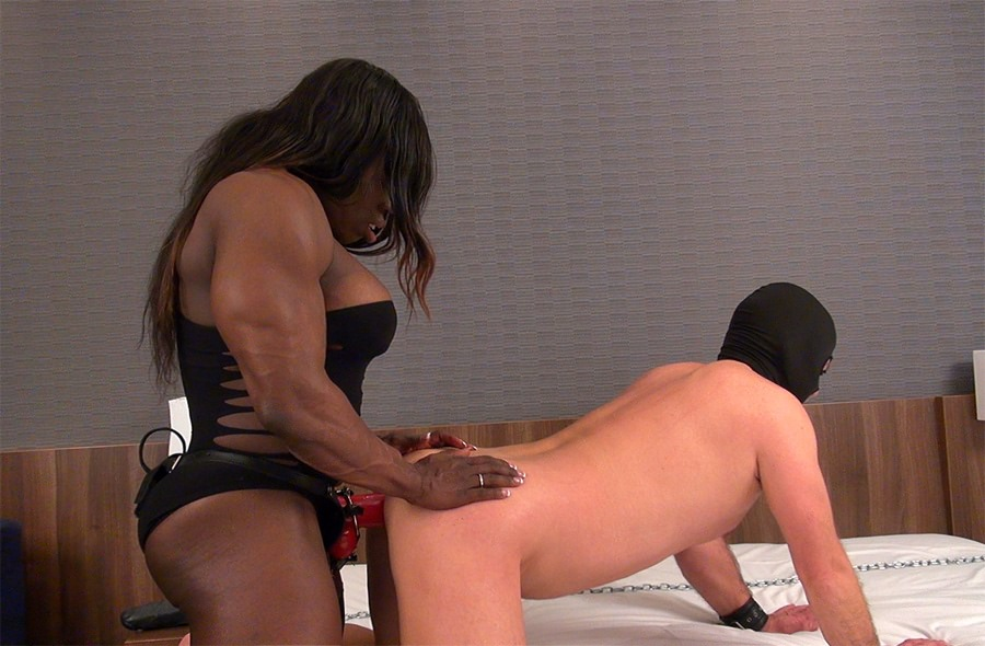 Hot femdom penetrates sissy slaves tight ass with huge black strapon cock 4