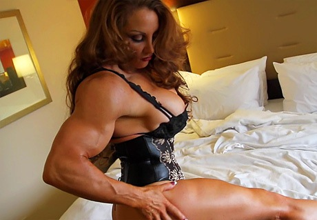 Busty Muscular Mistress posing and flexing her big muscles from wonderful katie morgan